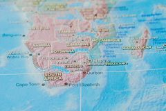 South Africa in close up on the map. Focus on the name of country. Vignetting effect.  stock photography