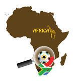 South Africa concept. Map of afica with south africa flag Royalty Free Stock Images