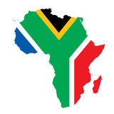 South Africa  concept. Vector map of Africa with South Africa's flag Stock Image