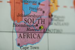 South africa country on paper map. Close up view royalty free stock photography