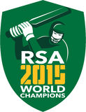 South Africa Cricket 2015 World Champions Shield. Illustration of a cricket player batsman with bat batting set inside shield with words South Africa RSA Cricket Stock Photography