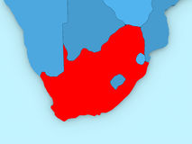 South Africa on 3D map Royalty Free Stock Photos