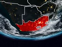 South Africa during night. South Africa on Earth at night with visible country borders. 3D illustration. Elements of this image furnished by NASA Royalty Free Stock Image