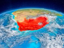South Africa on Earth. Orbit view of South Africa highlighted in red on planet Earth with highly detailed surface textures. 3D illustration. Elements of this Stock Photos