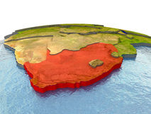 South Africa on Earth in red Royalty Free Stock Image