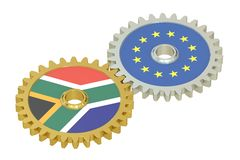 South Africa and EU flags on a gears, 3D rendering. Isolated on white background Royalty Free Stock Images