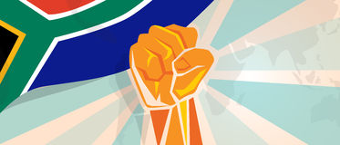 South Africa fight and protest independence struggle rebellion show symbolic strength with hand fist illustration and. Flag vector Royalty Free Stock Photos