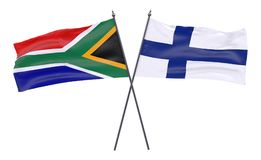 Two crossed flags. South Africa and Finland, two crossed flags isolated on white background. 3d image Royalty Free Stock Photo