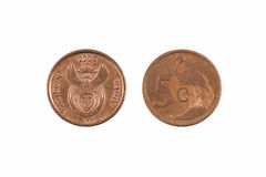 South Africa Five Cent Coin Royalty Free Stock Photo
