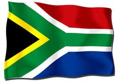 South Africa Flag. Waving flag of South Africa isolated on white Vector Illustration