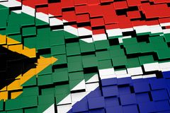 South Africa flag background formed from digital mosaic tiles, 3D rendering. Modern 3D rendered concept of numerous square tiles sliding together to form the Stock Image