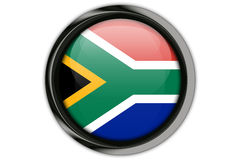 South Africa flag in the button pin Isolated on White Background Stock Images