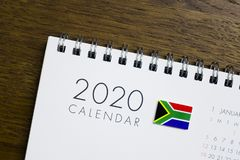 South Africa Flag on 2020 Calendar royalty free stock photo