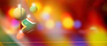 South Africa flag on Christmas ball with blurred and abstract background. South Africa flag on Xmas ball. Christmas background corner design element featuring vector illustration