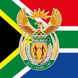 South Africa flag and coat of arms. Vector file, illustration stock illustration