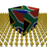 South Africa flag cube with people Royalty Free Stock Photos