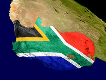 South Africa with flag on Earth Stock Images
