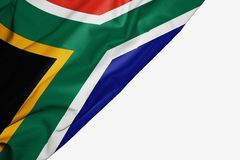South Africa flag of fabric with copyspace for your text on white background. Banner best black blue capital colorful competition country ensign free freedom royalty free illustration