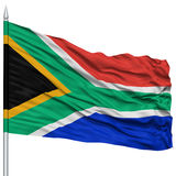 South Africa Flag on Flagpole. Flying in the Wind, Isolated on White Background royalty free stock image