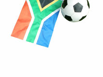 South Africa flag and football. South African flag and soccer ball isolated on white background Royalty Free Stock Images