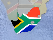 South Africa with flag on globe Stock Images
