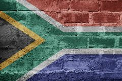 South Africa FLAG PAINTED ON BRICK WALL cool Royalty Free Stock Photo