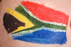 South africa flag painted on female cheek Stock Photography