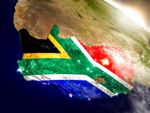 South Africa with flag in rising sun Royalty Free Stock Photos