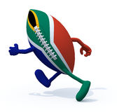 South Africa flag on rugby ball with arms and legs that run away Royalty Free Stock Photos