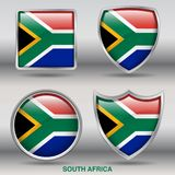South Africa Flag in 4 shapes collection with clipping path Royalty Free Stock Image