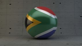 south africa flag sphere icon isolated in concrete room Royalty Free Stock Images