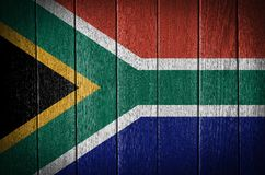 South Africa flag. On wood texture background royalty free stock photos
