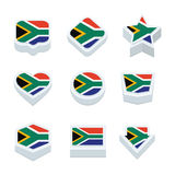 South africa flags icons and button set nine styles Royalty Free Stock Photos