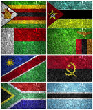 South Africa flags. Madagascar, Mozambique, Zimbabwe, Zambia Angola, Namibia, Botswana and South Africa of wall texture Royalty Free Stock Images