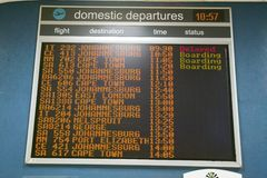South Africa flight schedules in airport Royalty Free Stock Images