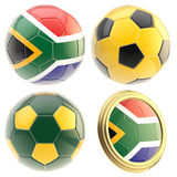 South Africa football team attributes isolated. South Africa football team set of four soccer ball attributes isolated on white Royalty Free Stock Photos