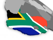 South Africa on globe with flag Royalty Free Stock Photo
