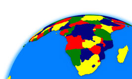 South Africa on globe political map Stock Photography