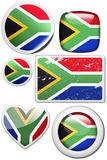 South Africa - Glossy and colorful stickers with r. Glossy and colorful stickers with reflection set Stock Photos