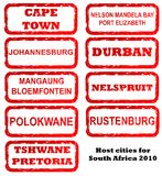 South Africa host city stamps. Stamps of all host cities and areas for 2010 football or soccer in South African, isolated on white background Stock Images