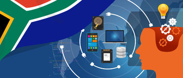 South Africa IT information technology digital infrastructure connecting business data via internet network using. Computer software an electronic innovation stock illustration