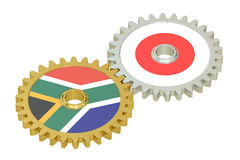 South Africa and Japan relations concept, flags on a gears. 3D r Stock Image