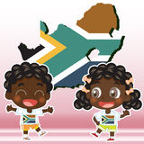 South africa kids. South Africa boy, girl,map and national flag Stock Photography