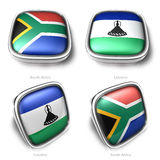 South Africa and Lesotho 3d metallic square flag button Royalty Free Stock Photography