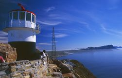 South Africa: The lighthouse at Cape Point with perfect view to stock photos