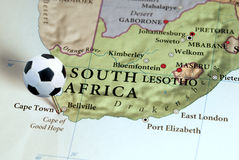 South Africa on map. With soccer pin. South Africa will host the 2010 FIFA Coccer World Cup royalty free stock photography