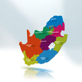 South Africa Map. 3D map of South Africa regions Stock Photos