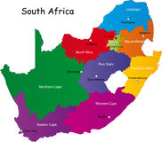 South Africa map. Designed in illustration with the provinces and the main cities vector illustration