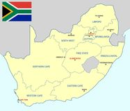 South Africa map - cdr format. South Africa map with provinces main cities and flag Royalty Free Stock Photos