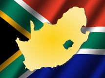South Africa map on flag Stock Photos